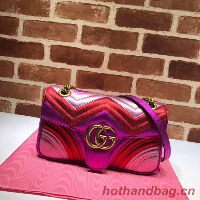 Gucci GG Marmont matelasse bag 443497 Fuchsia&red& pink