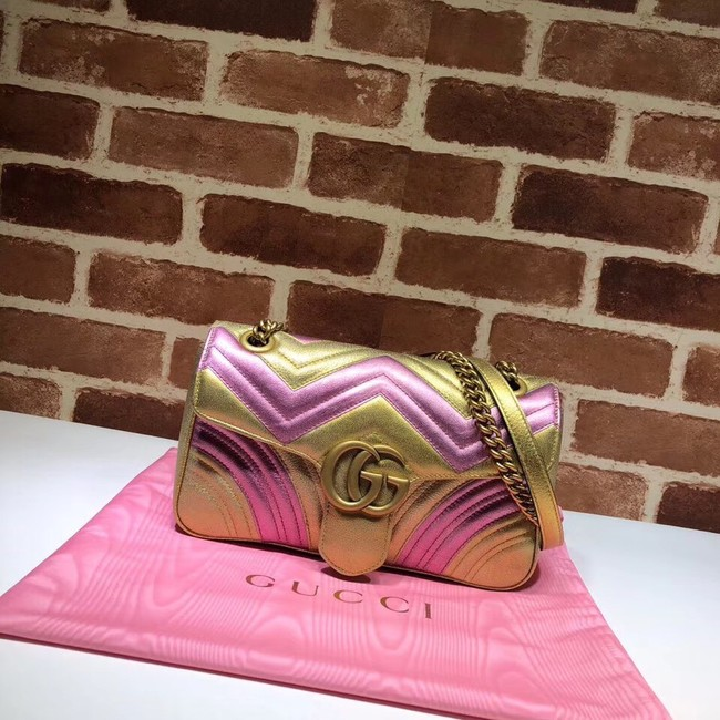 Gucci GG Marmont matelasse bag 443497 Pink and gold