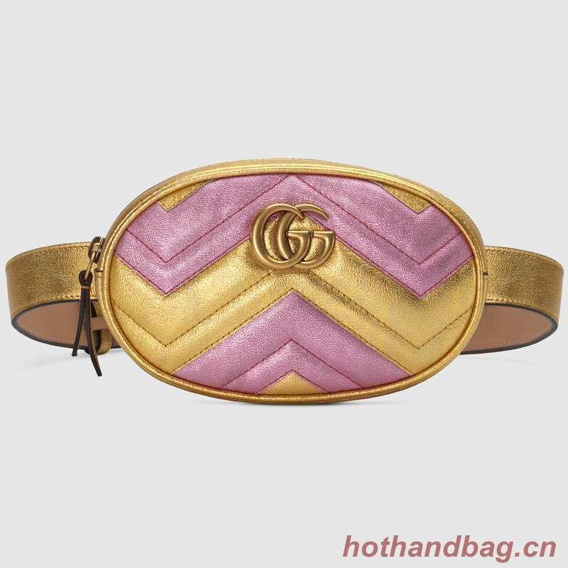 Gucci GG Marmont matelasse leather belt bag 476434 Pink&gold