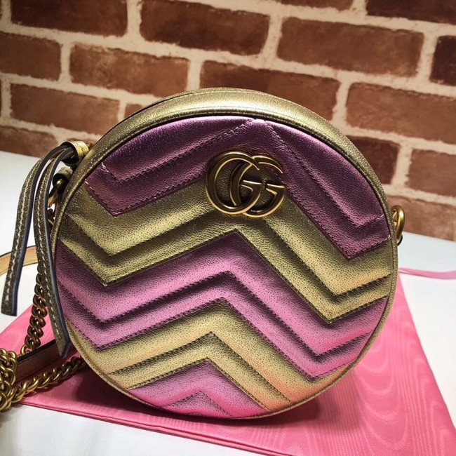 Gucci GG Marmont mini round shoulder bag 550154 Pink&gold