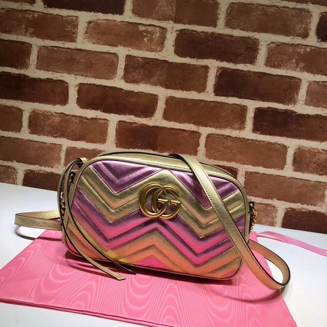Gucci GG Marmont small matelasse shoulder bag 447632 Pink&gold