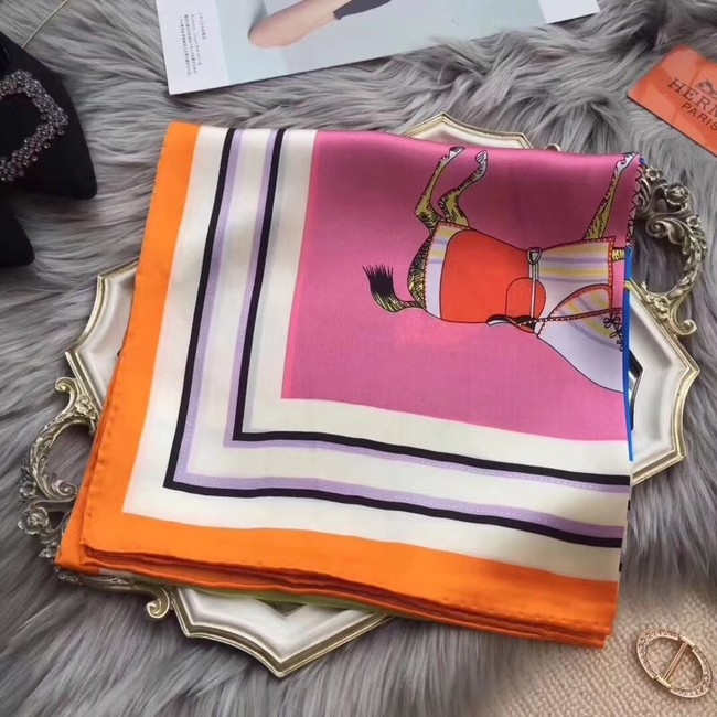 Hermes Scarf in silk twill with hand rolled edges H0032 orangeπnk
