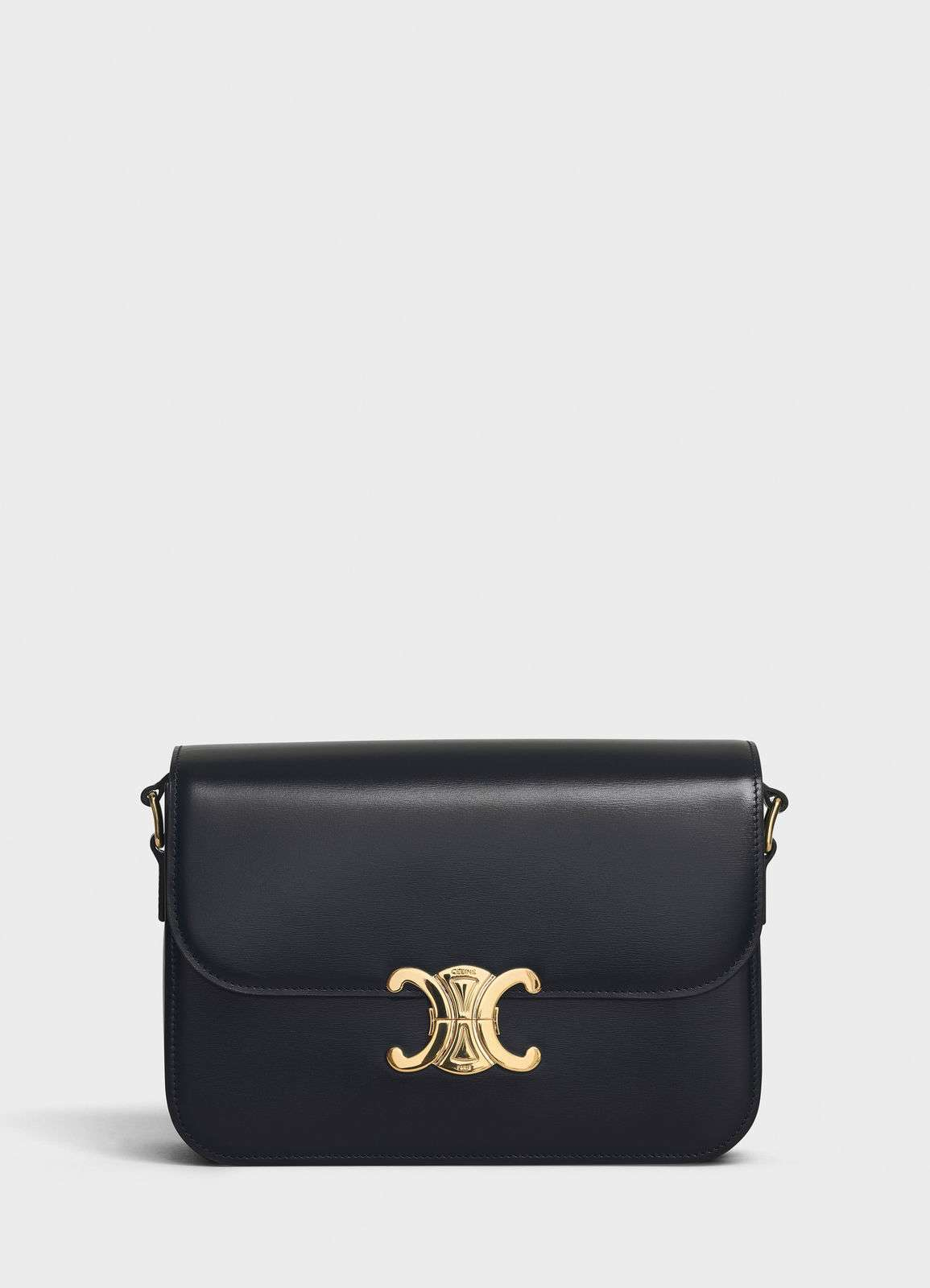 CELINE MEDIUM TRIOMPHE BAG IN SHINY CALFSKIN CL87363 BLACK