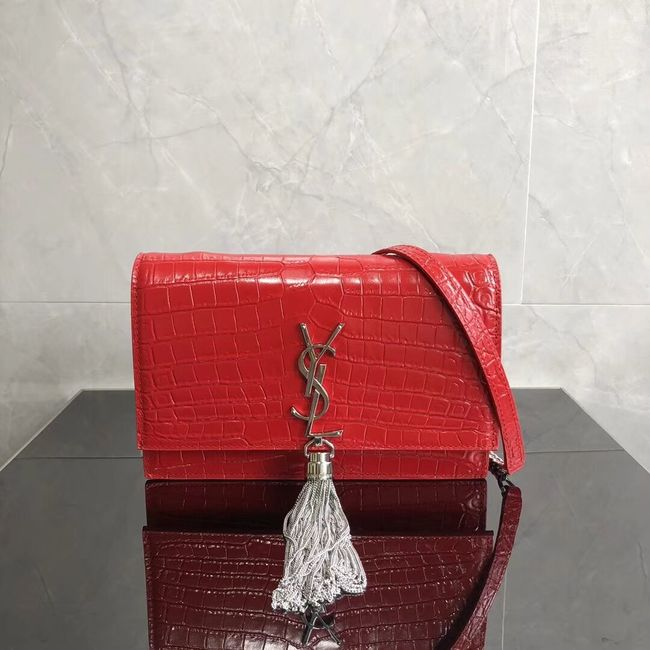 SAINT LAURENT Kate crocodile-embossed leather cross-body bag 452159 red