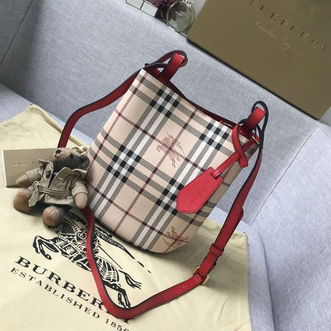 BURBERRY Banner small vintage check and leather tote Bag 9657 red