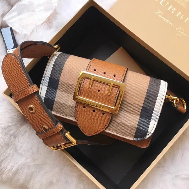 BURBERRY Hampshire vintage check leather cross-body bag 24581 brown