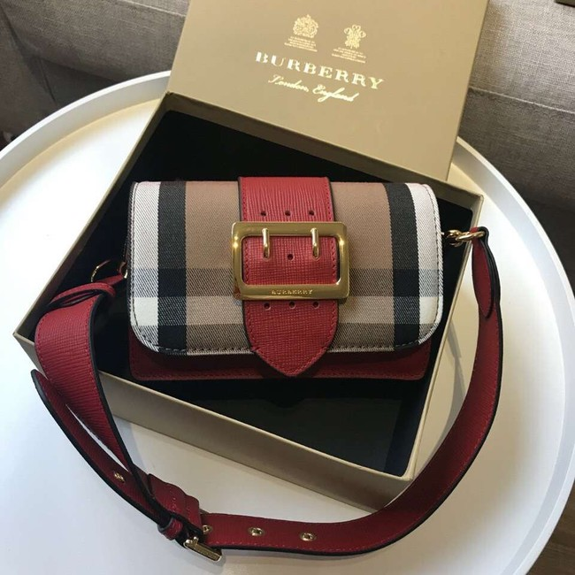 BURBERRY Hampshire vintage check leather cross-body bag 24581 red