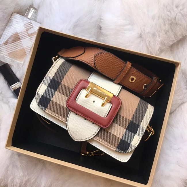 BURBERRY Hampshire vintage check leather cross-body bag 24581 white