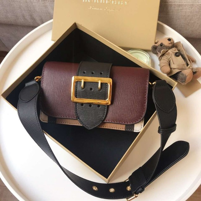 BURBERRY Hampshire vintage check leather cross-body bag A24581 Burgundy