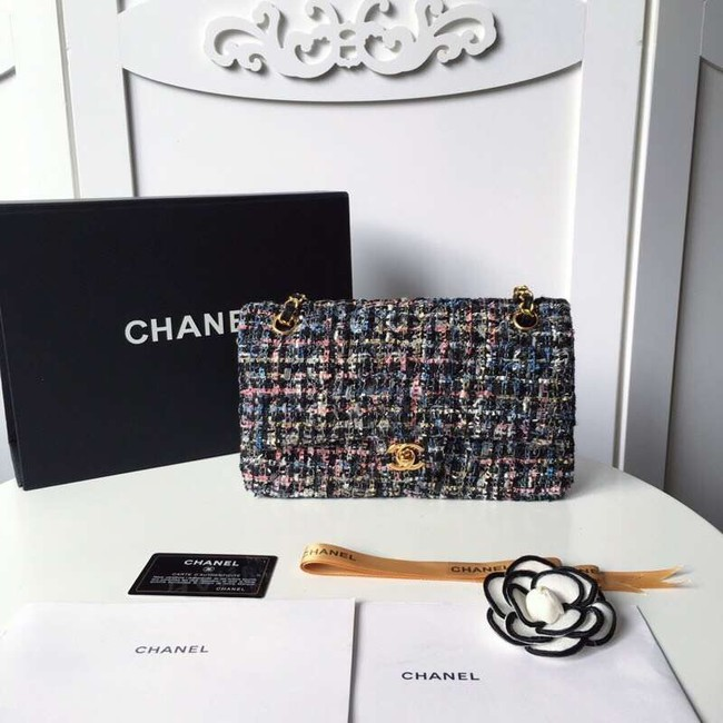 Chanel classic handbag Tweed Braid & Gold-Tone Metal A01112-3