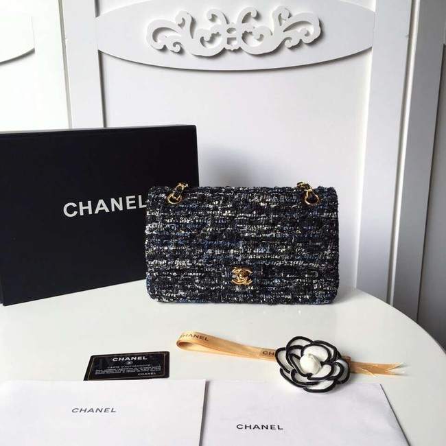 Chanel classic handbag Tweed Braid & Gold-Tone Metal A01112-4