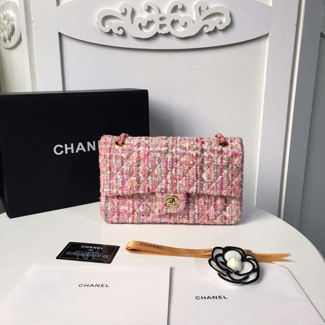 Chanel classic handbag Tweed Braid & Gold-Tone Metal A01112-5