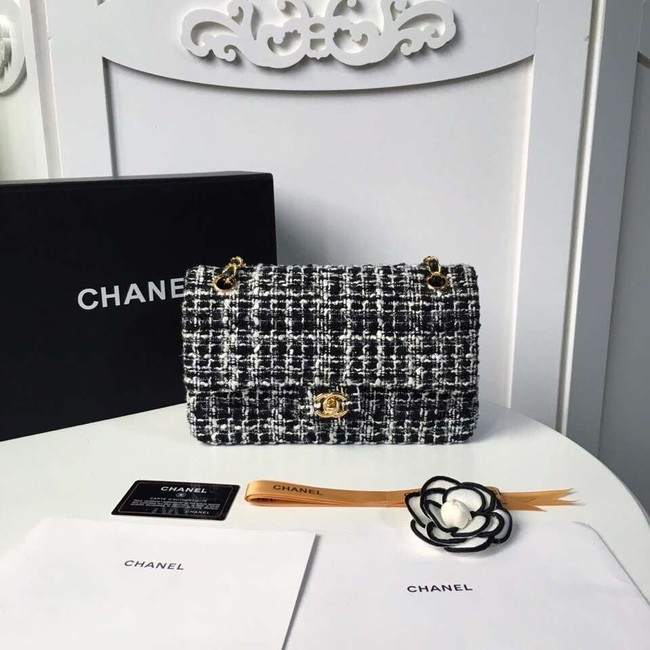 Chanel classic handbag Tweed Braid & Gold-Tone Metal A01112-6