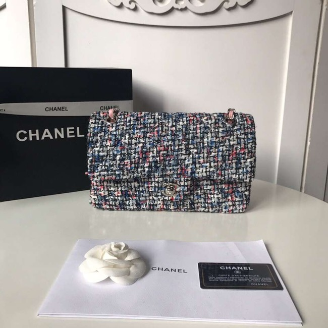 Chanel classic handbag Tweed Braid & Silver-Tone Metal A01112-1