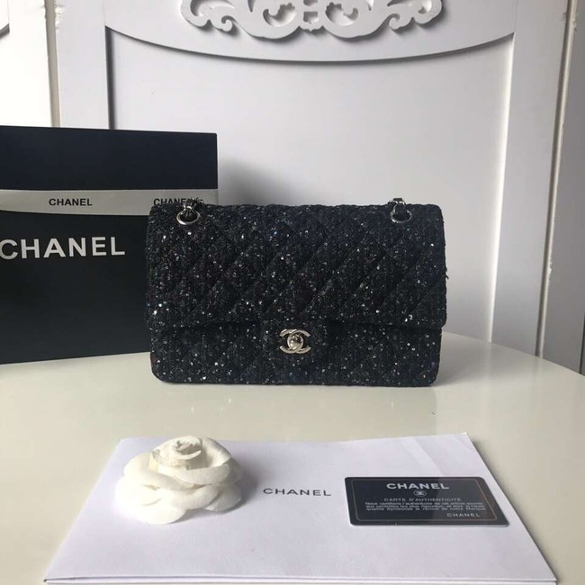 Chanel classic handbag Tweed Braid & Silver-Tone Metal A01112-2