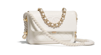 Chanel flap bag Crumpled Calfskin Cotton & Gold-Tone Metal AS0074 white