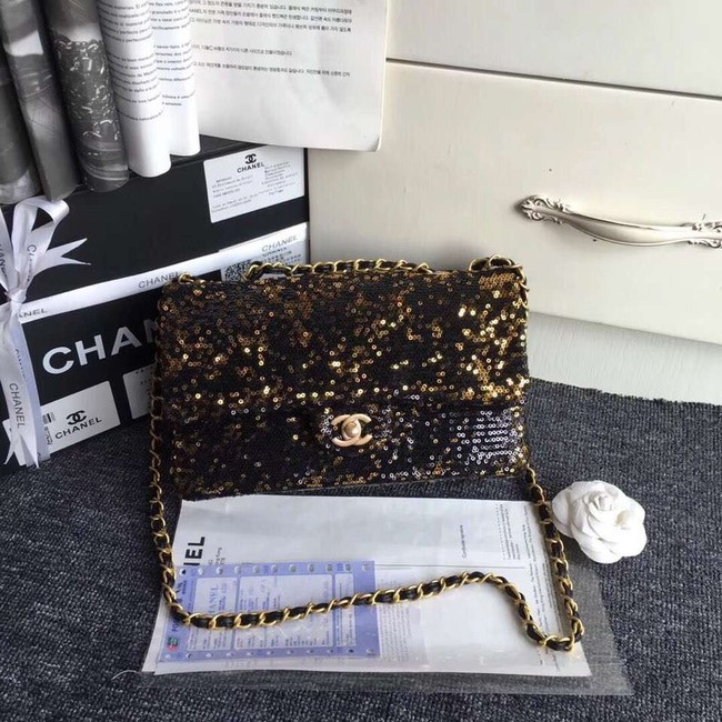 Chanel flap bag Sequins & Gold-Tone Metal AS0160 black