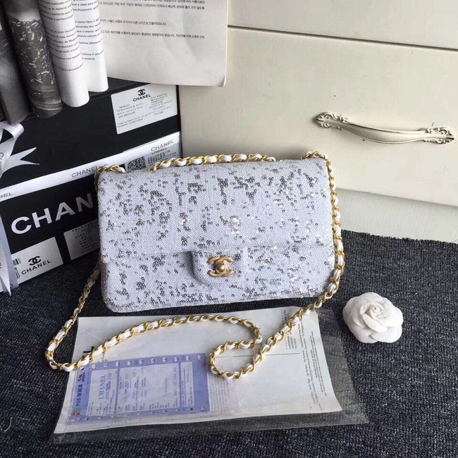 Chanel flap bag Sequins & Gold-Tone Metal AS0160 white