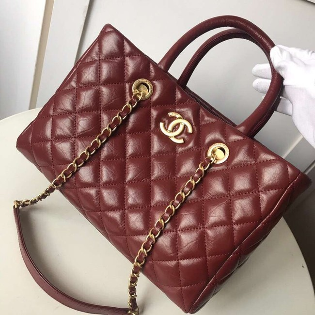 Chanel large shopping bag Aged Calfskin & Gold-Tone Metal A57974 Burgundy