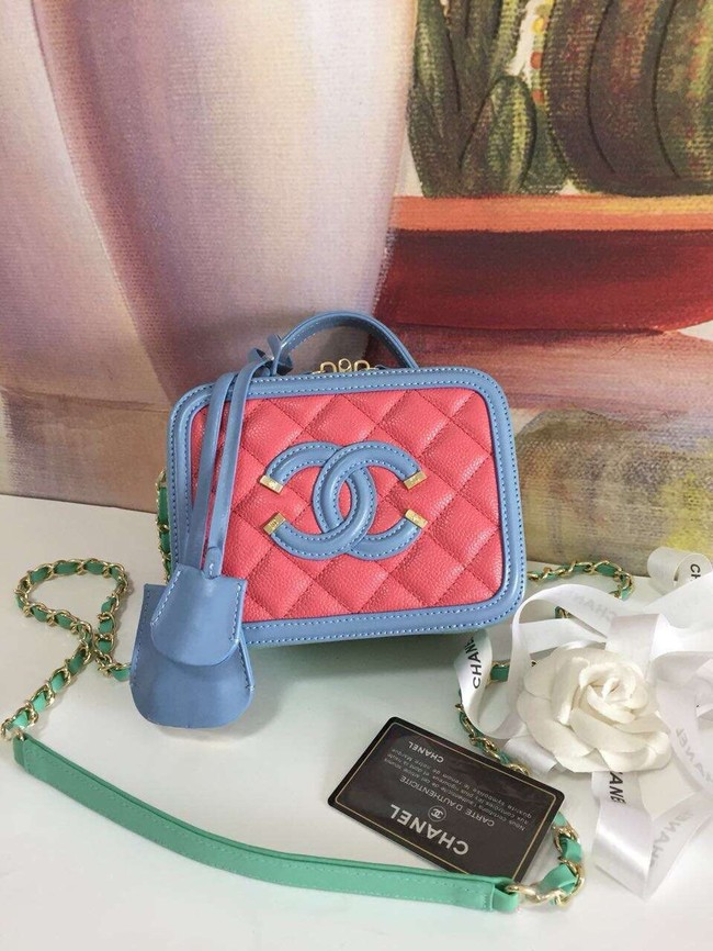 Chanel small vanity case Grained Calfskin & gold-Tone Metal A93342 Pink&Green&blue