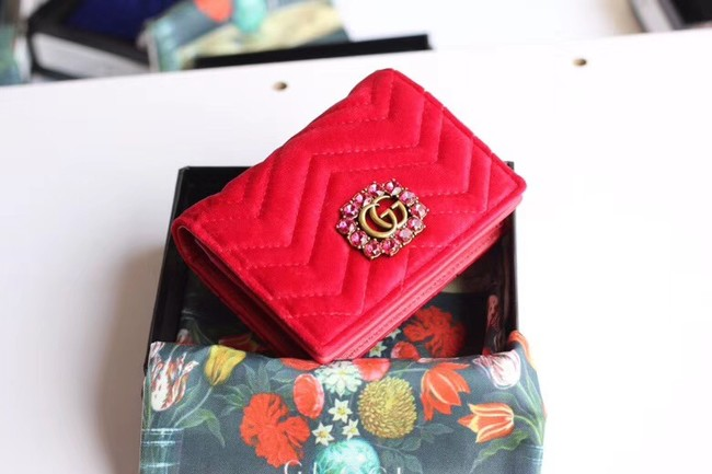 Gucci velvet card case with Double G and crystals 499783 red