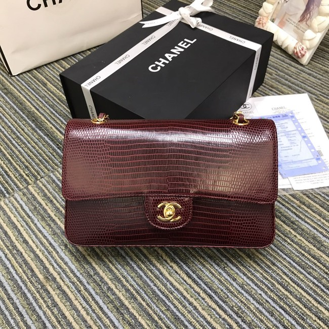 Chanel Classic Handbag Original Lizard & Gold-Tone Metal A01112 Burgundy