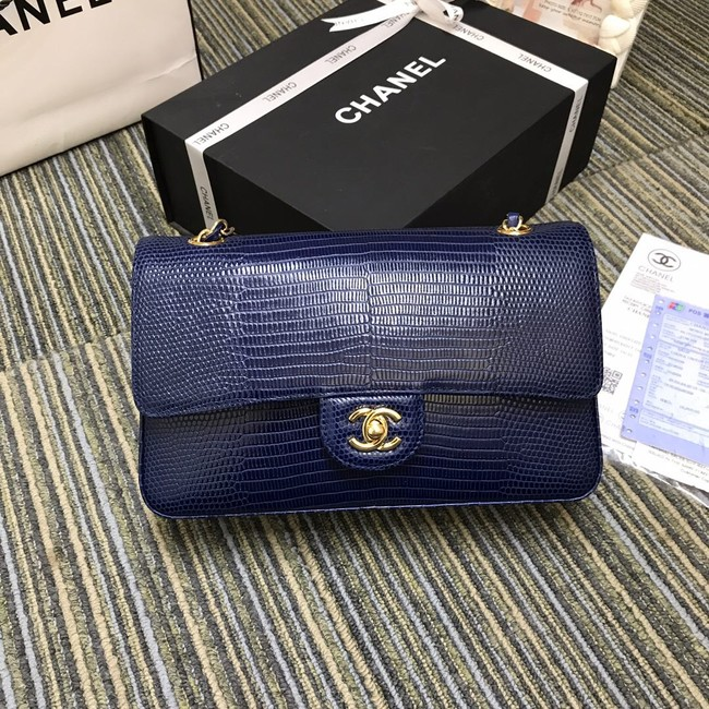 Chanel Classic Handbag Original Lizard & Gold-Tone Metal A01112 blue