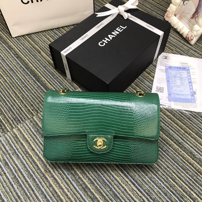 Chanel Classic Handbag Original Lizard & Gold-Tone Metal A01112 green