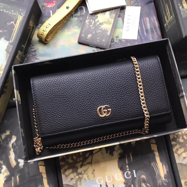 Gucci GG Marmont leather chain wallet 546585 black