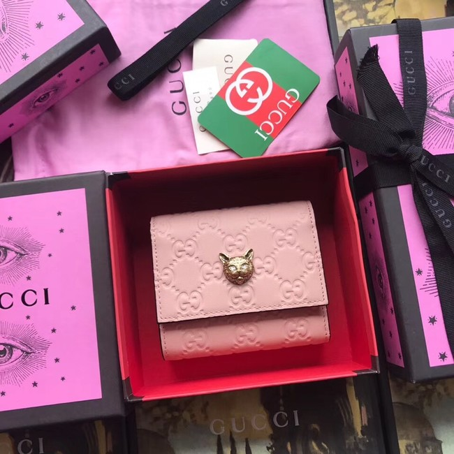 Gucci Signature card case with cat 548050 pink