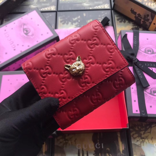 Gucci Signature card case with cat 548050 red