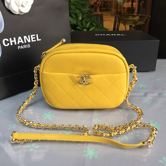 Chanel camera case Lambskin & Gold-Tone Metal AS0137 yellow