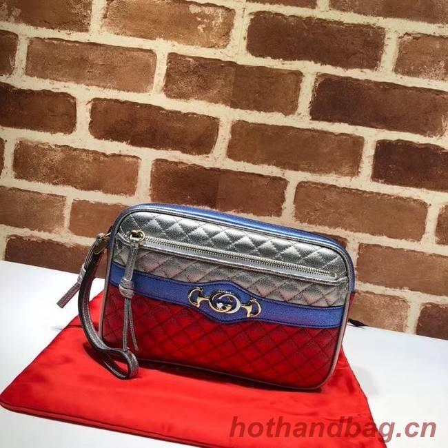 Gucci Calfskin Leather Clutch bag 447632 blue&red&silver