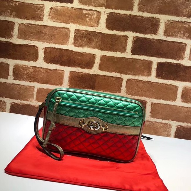 Gucci Calfskin Leather Clutch bag 447632 red&Gold&Green