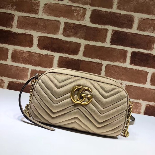 GucciGG Marmont velvet small shoulder bag 447632 Khaki