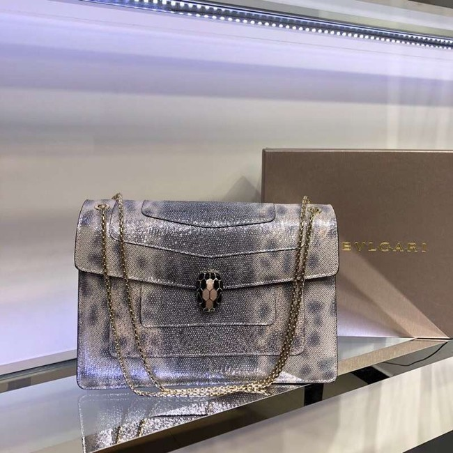 BVLGARI Serpenti Forever leather shoulder bag 35108 grey
