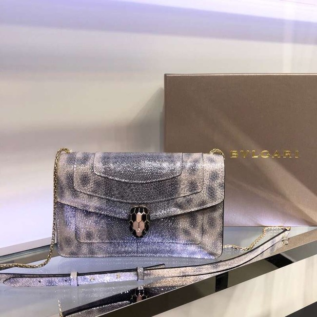 Bulgari metallic-leather shoulder bag 39174 grey