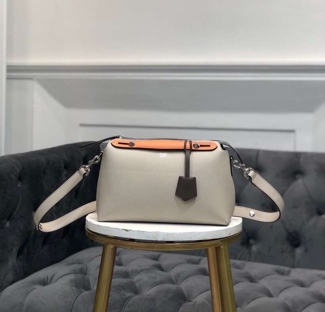 FENDI BY THE WAY REGULAR Small multicoloured leather Boston bag 8BL1245 cream∨ange