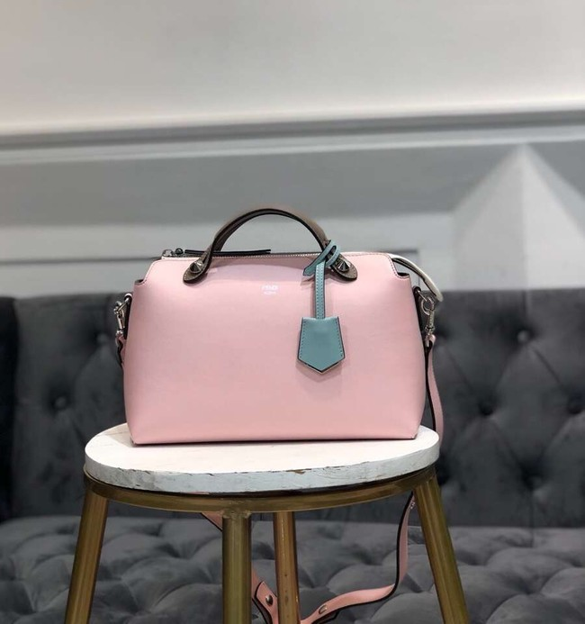 FENDI BY THE WAY REGULAR Small multicoloured leather Boston bag 8BL1245 pink&brown