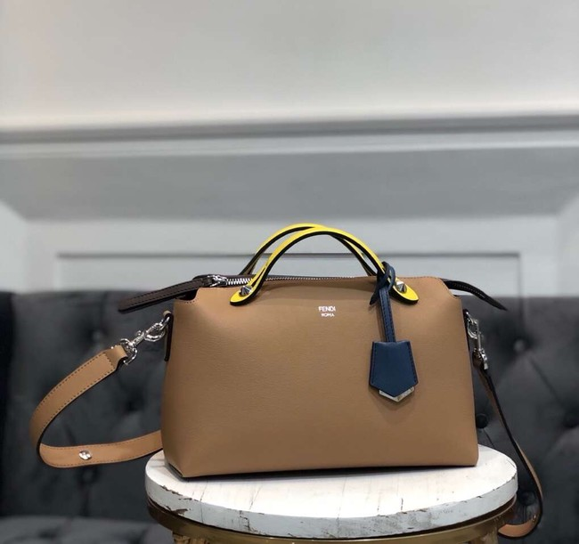 FENDI BY THE WAY REGULAR Small multicoloured leather Boston bag 8BL1245 Apricot&yellow