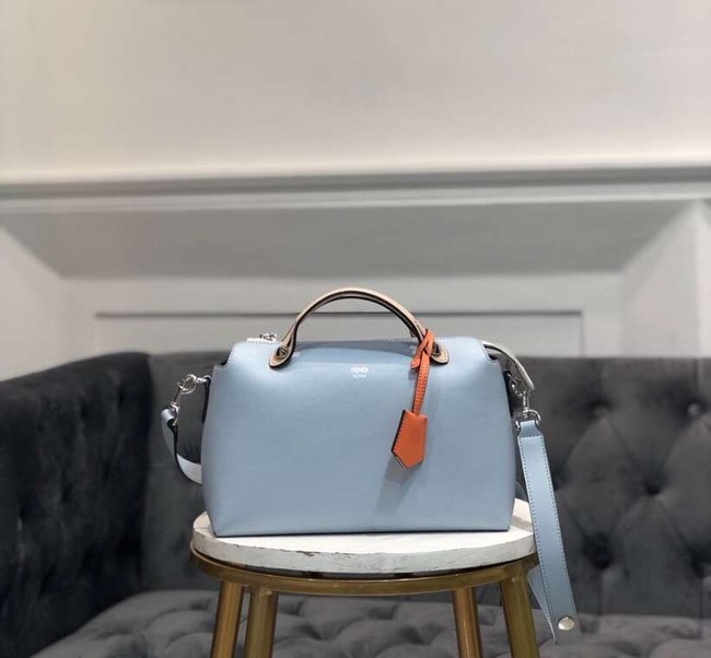 FENDI BY THE WAY REGULAR Small multicoloured leather Boston bag 8BL1245 sky blue&cream