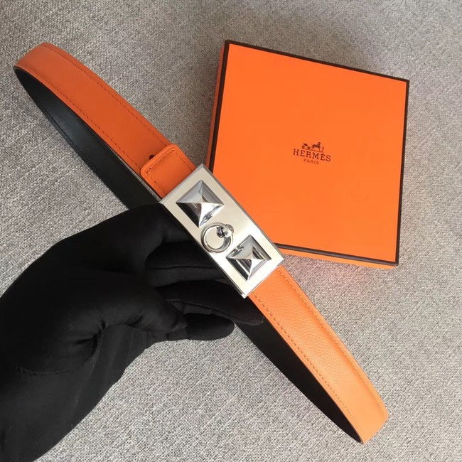 Hermes Collier de Chien belt buckle & Reversible leather strap 24 mm H0521 orange