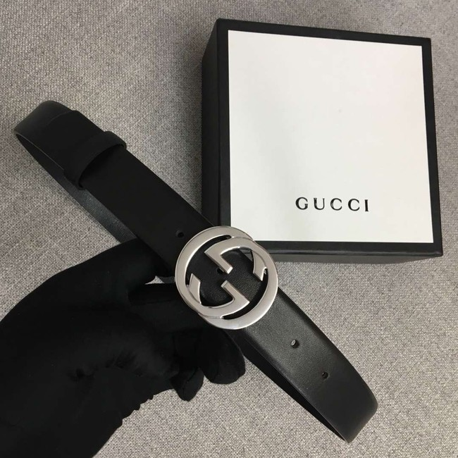 Gucci Leather belt with Double G buckle 406831 black