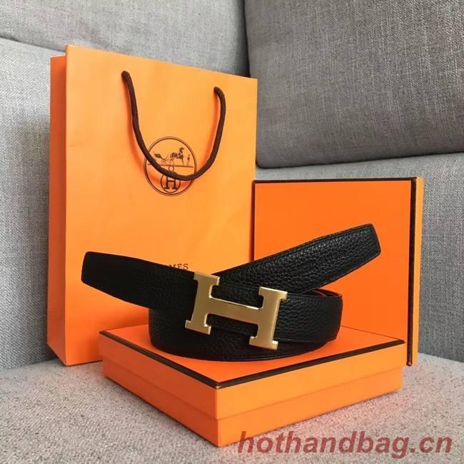 Hermes original togo 2 belt buckle & Reversible leather strap 32 mm H06454 black  gold plated metal