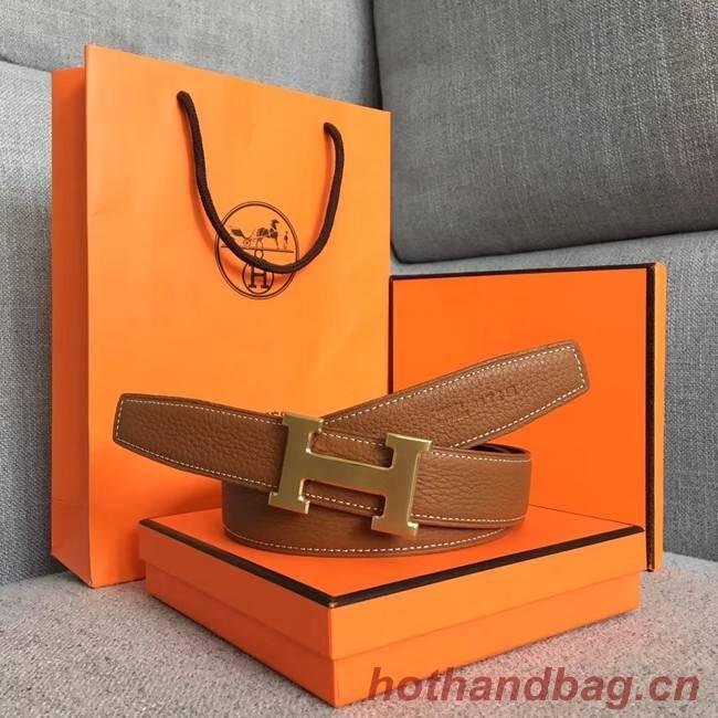 Hermes original togo 2 belt buckle & Reversible leather strap 32 mm H06454 brown  gold plated metal