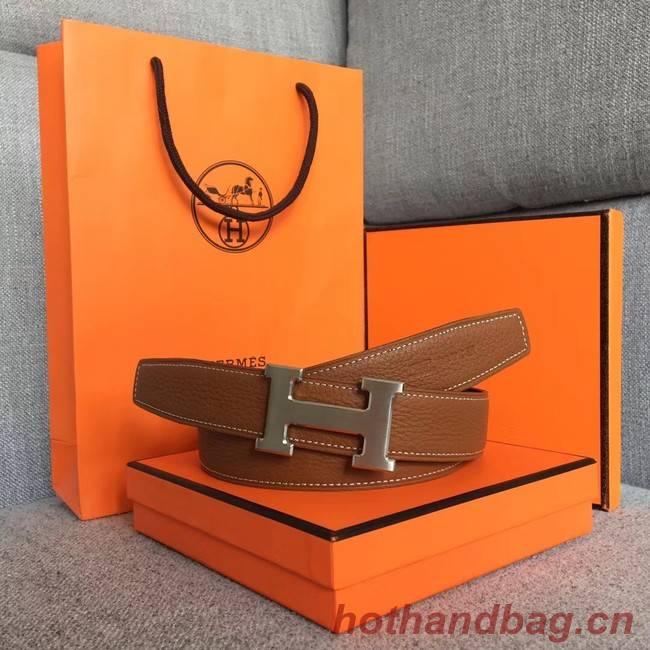 Hermes original togo 2 belt buckle & Reversible leather strap 32 mm H06454 brown