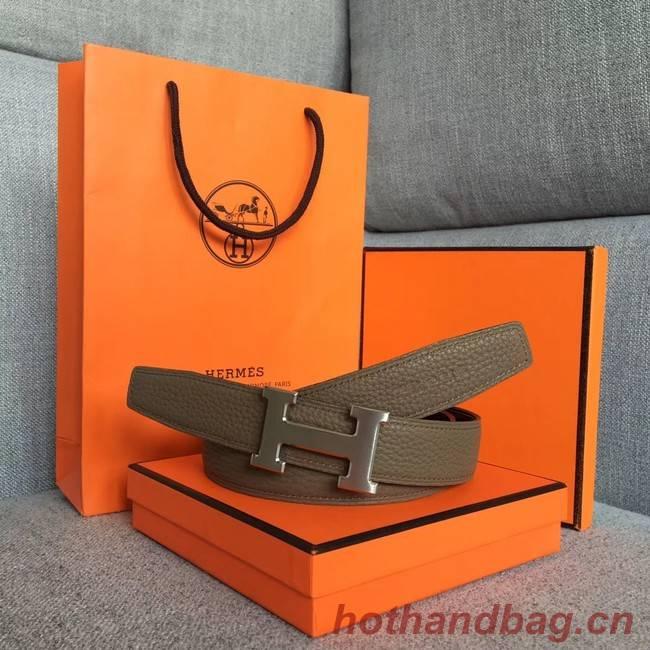 Hermes original togo 2 belt buckle & Reversible leather strap 32 mm H06454 grey