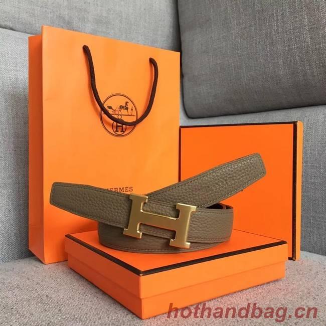 Hermes original togo 2 belt buckle & Reversible leather strap 32 mm H06454 grey  gold plated metal