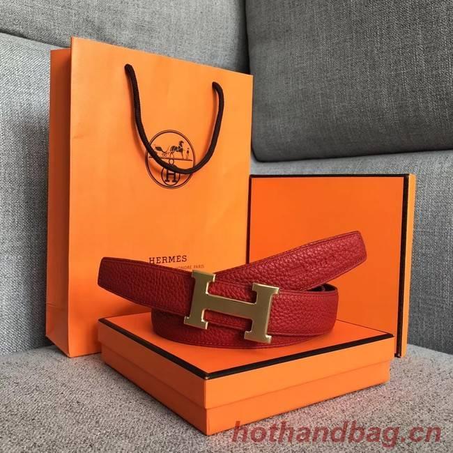 Hermes original togo 2 belt buckle & Reversible leather strap 32 mm H06454 red  gold plated metal