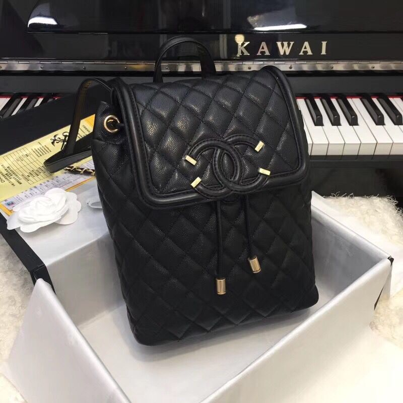 Chanel Caviar Leather Backpack Original Leather 83430 Black
